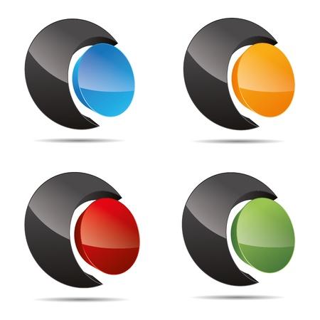 firma: 3D abstract set circular round sun pearl symbol corporate design icon logo trademark