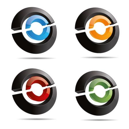 firma: 3D abstract set circular ring half line cube symbol corporate design icon logo trademark