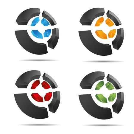 firma: 3D abstract set circular ring cross element cube symbol corporate design icon logo trademark