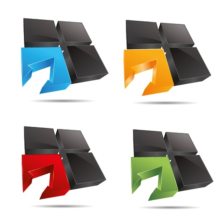 3D abstract set corporate cube window square arrow set symbol corporate design icon logo trademark Vector