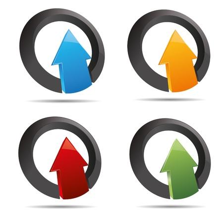 3D abstract set corporate arrow direction ring set symbol corporate design icon logo trademark Stock Vector - 15482542