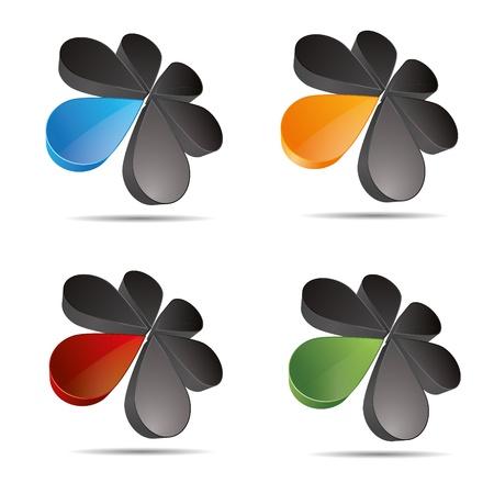 3D abstract set corporate  flower drip sun round set symbol corporate design icon logo trademark Stock Vector - 15456418
