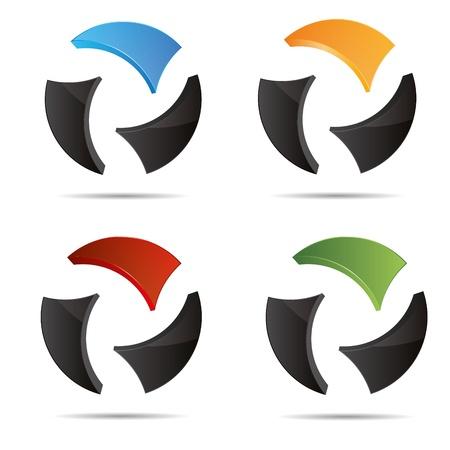 trademark: 3D abstracto establecer bola corporativo Mundo circular globo juego de s�mbolos corporativo dise�o icono logotipo marca Vectores