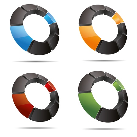 3D abstract set ring circular square colorful cube symbol corporate design icon logo trademark Stock Vector - 15456420