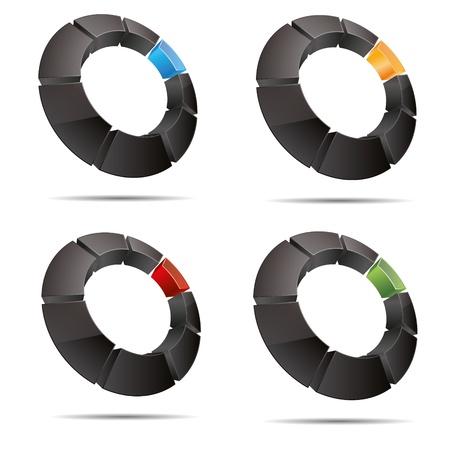 trademark: 3D abstracto anillo circular conjunto cuadrado colorido cubo s�mbolo corporativo dise�o ic�nico logo marca