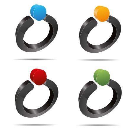 trademark: Juego 3D abstracto anillo de perla punto s�mbolo corporativo dise�o ic�nico logo marca Vectores