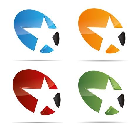 3D 추상적 인 집합의 슈팅 스타 여배우 불가사리 상징 기업의 디자인 아이콘 로고 상표