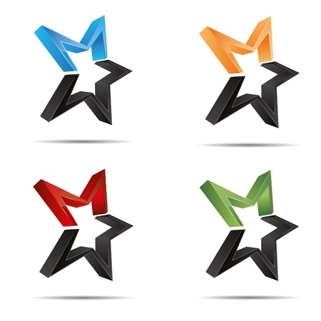 3D abstract set shooting star starlets starfish symbol corporate design icon logo trademark Vector