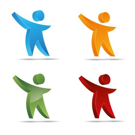 trademark: 3D abstract figure set colorful sun water kids corporate design icon logo trademark Illustration