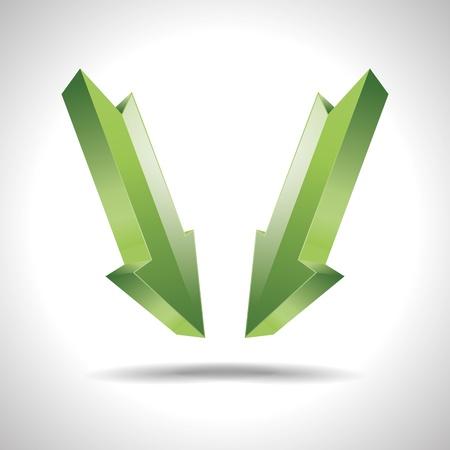 firma: 3D abstract arrow direction green pointer design icon logo trademark Illustration
