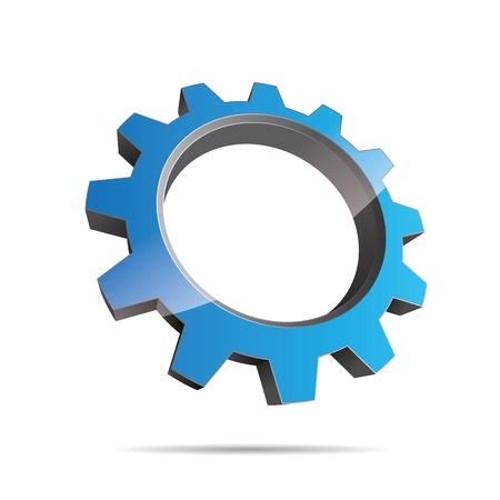 pinion: 3D abstraction pinion wheel motor engineering blue water metal corporate logo design icon sign Illustration