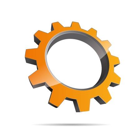 pinion: 3D abstraction pinion wheel motor engineering orange sun metal corporate logo design icon sign Illustration