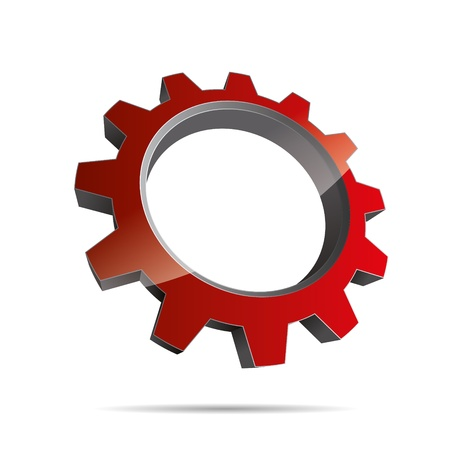 pinion: 3D abstraction pinion wheel motor engineering red metal corporate logo design icon sign