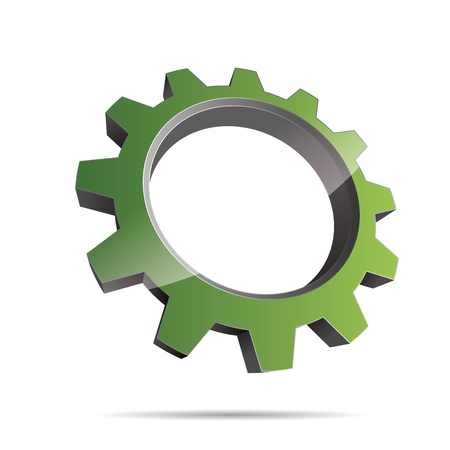 engineering design: 3D abstraction pinion wheel motor engineering green nature metal corporate logo design icon sign