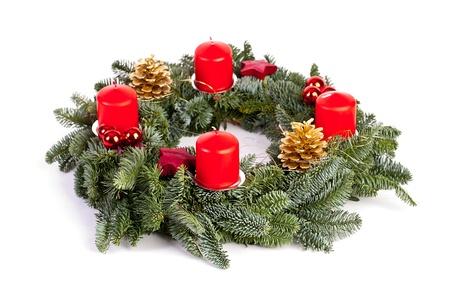 Adventskranz Kerzen, Flamme Weihnachtsdekoration Xylophon tannenzweig Zimtstange