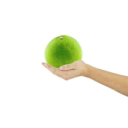 calories poor: organic pomelo fruit hand finger hold diet recipes healthy salad isolated vegetarian cookbook Diet Stock Photo