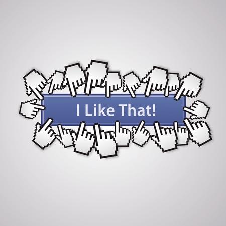 Ich mag diesen Cursor mit der Maus in sozialen Netzwerken Handzeichen Business Internet-Link-Taste Ich mag Illustration