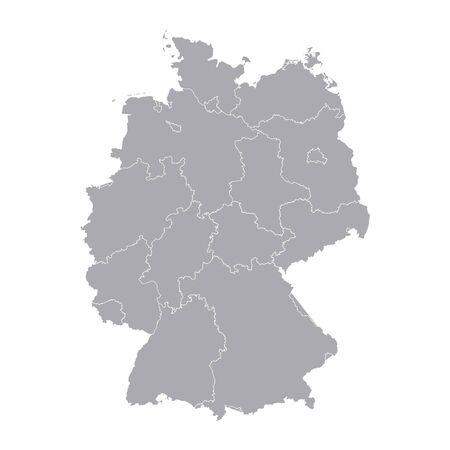 deutschland karte: Deutschland Regionen Karte map geo map brd Bundesrepublik Deutschland schwarz rot und gold Illustration