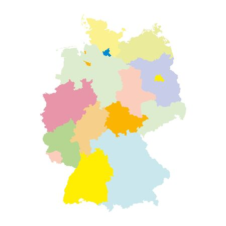 federal: Germany regions card map geo map brd federal republic of germany black red and gold