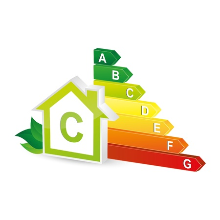 energy efficiency: energy class energieberatung bar chart efficiency rating electrical appliances consuming environment Illustration