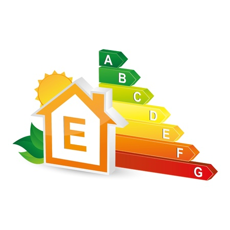 ecologically: energy class energieberatung bar chart efficiency rating electrical appliances consuming environment Illustration