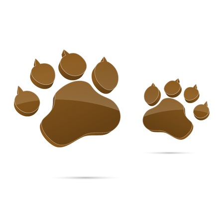 3d 3D pet animal paw paw cat paw footprints sign symbol vector on White Background created in Adobe Illustrator  Vector
