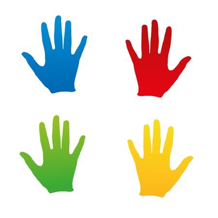 empreinte de main: empreinte empreinte empreinte de la main � la main kidshand timbre enfant ensemble kidsgarden Illustration