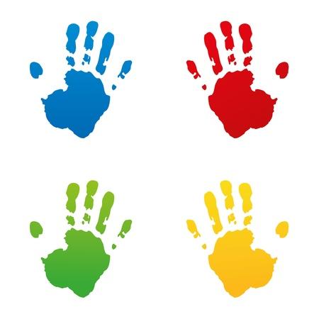 vieze handen: handafdruk voetafdruk vingerafdruk vector hand kidshand stempel kidsgarden kind set Stock Illustratie