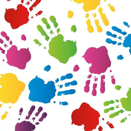 huella huella huellas dactilares mano kidshand sello kidsgarden niño Ilustración de vector