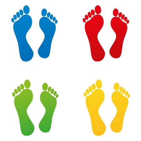 sniff foot footprint footprints tracing kindergarten barefoot off track set Vector