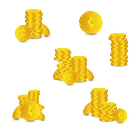 tal: Bank credit set coin capital credits gold money tal euro vector rewarding sweetheart symbol credit