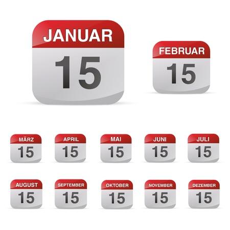calendario escolar: calendario conjunto de iconos s?mbolo mes a?o natural hoja kalendarium diario de la oficina del d?a de cumplea?os
