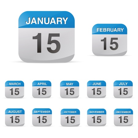 15: calendar set icon symbol month year calendar sheet kalendarium birthday holiday office diary