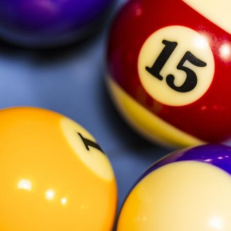 billiards tables: Sports cue tip billiard pool table cue chalk number 15 Carom Billiard Ball Store  Stock Photo
