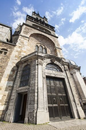 heads old building facade: Aachen Aachen Cathedral spire cathedral door entrance gate tower Leo say aix-la-chapelle aken imper Stock Photo