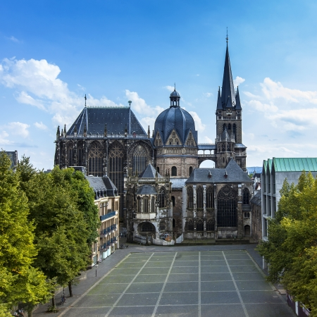 touristy: Aachen Cathedral Aachen, Aix-la-chapelle aken imperial imperial cathedral church gothic monument pos Stock Photo