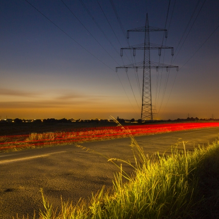 Power pole sunset long exposure high voltage electricity power energy dusk photo