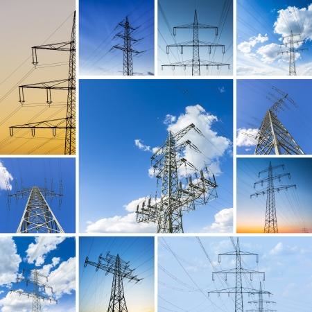 power grid: Power set collage pole cloud sky power line powered electricity electricity dusk sunset