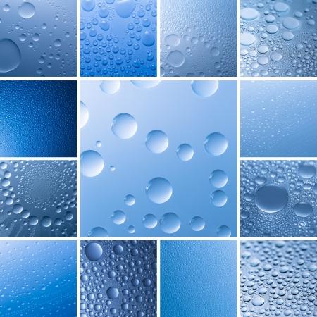 bionics: Water drop dew set collection effect nano effect lotuseffekt blue impregnation repels rain deflector
