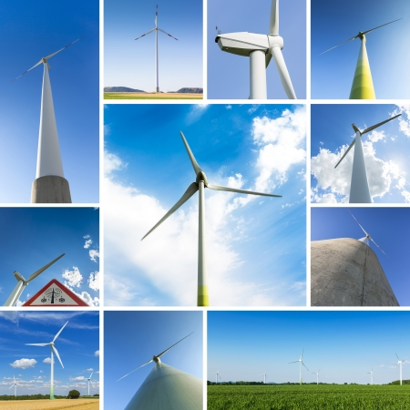 windmills set collage farming windmill wind-turbine wind farm electricity energy economy photo