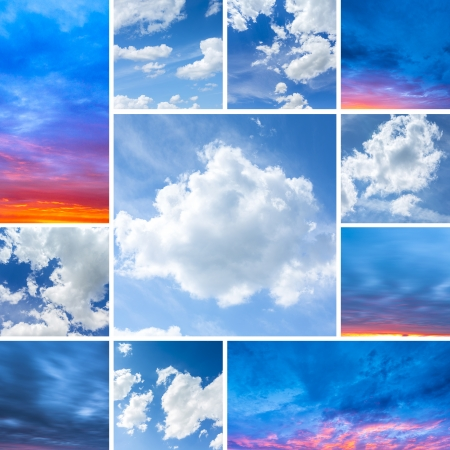 sunlight sunrise set collage clouds sky blue hour colors red dusk light strum weather photo