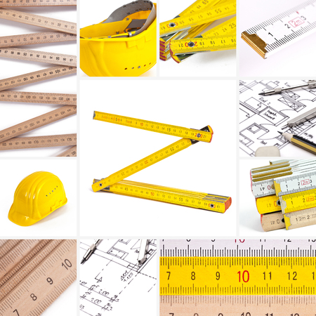 helmet set architecture collage construction house construction building work to renovate ruler too Stock Photo - 23069436