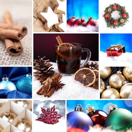 weihnachten gold: Weihnachten Glocke Set Collage Gl�hwein advent baum christ kind Markt neue Jahr