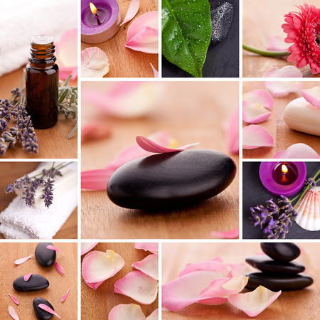 chillout: basalt scented candle set spa massage collage soap cosmetic gebera zen chillout rosenblatt Stock Photo