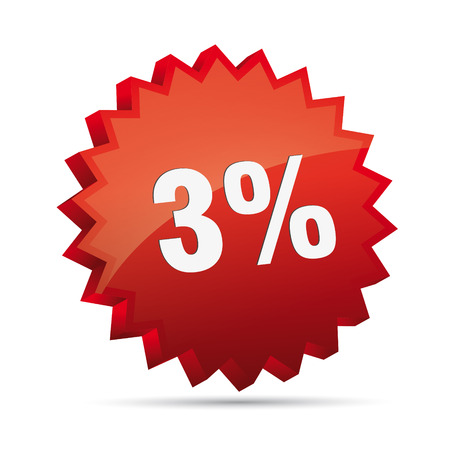 clacker: 3 three percent reduced Discount advertising action button badge bestseller free shop sale Illustration