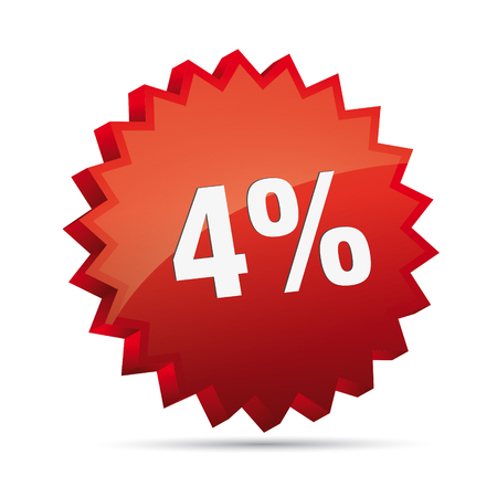 clacker: 4  four percent reduced Discount advertising action button badge bestseller percent free shop sale Illustration