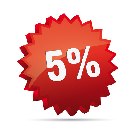 cheaper: 5 five percent reduced Discount advertising action button badge bestseller free shop sale