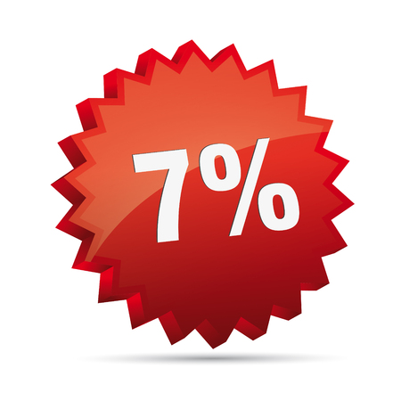 cheaper: 7 seven percent reduced Discount advertising action button badge bestseller free shop sale