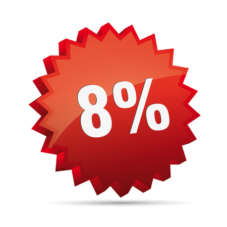 8   eight Prozent Discount advertising action button badge bestseller percent free shop sale Vector