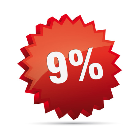 9 nine percent reduced Discount advertising action button badge bestseller free shop sale